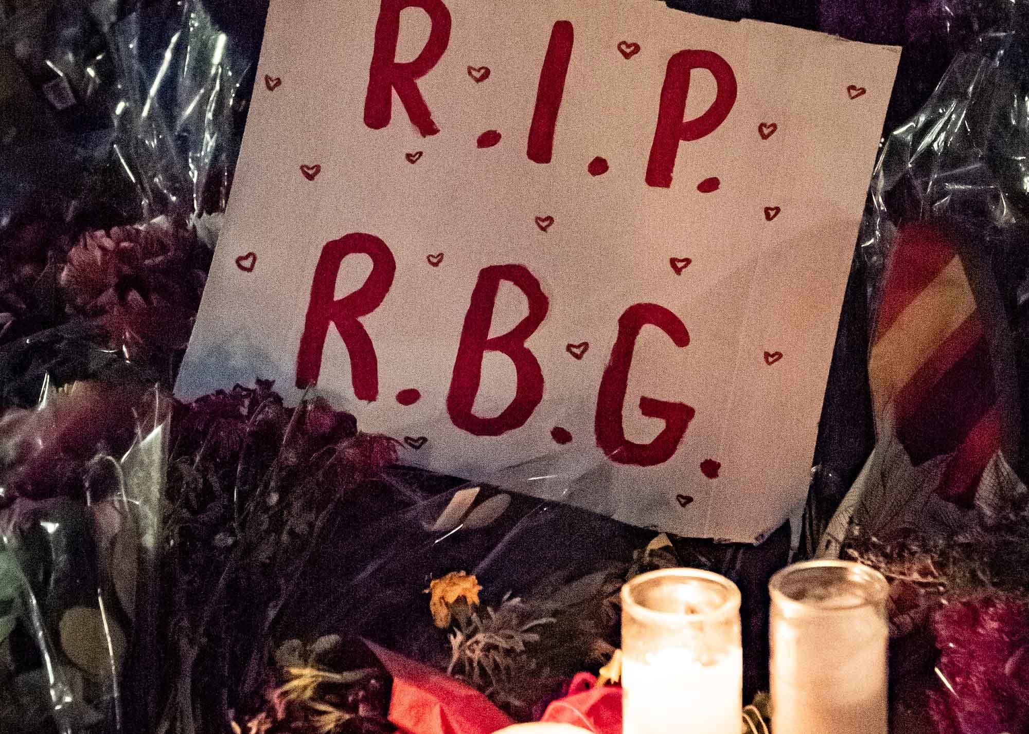 """A sign that says """"RIP RBG"""""""