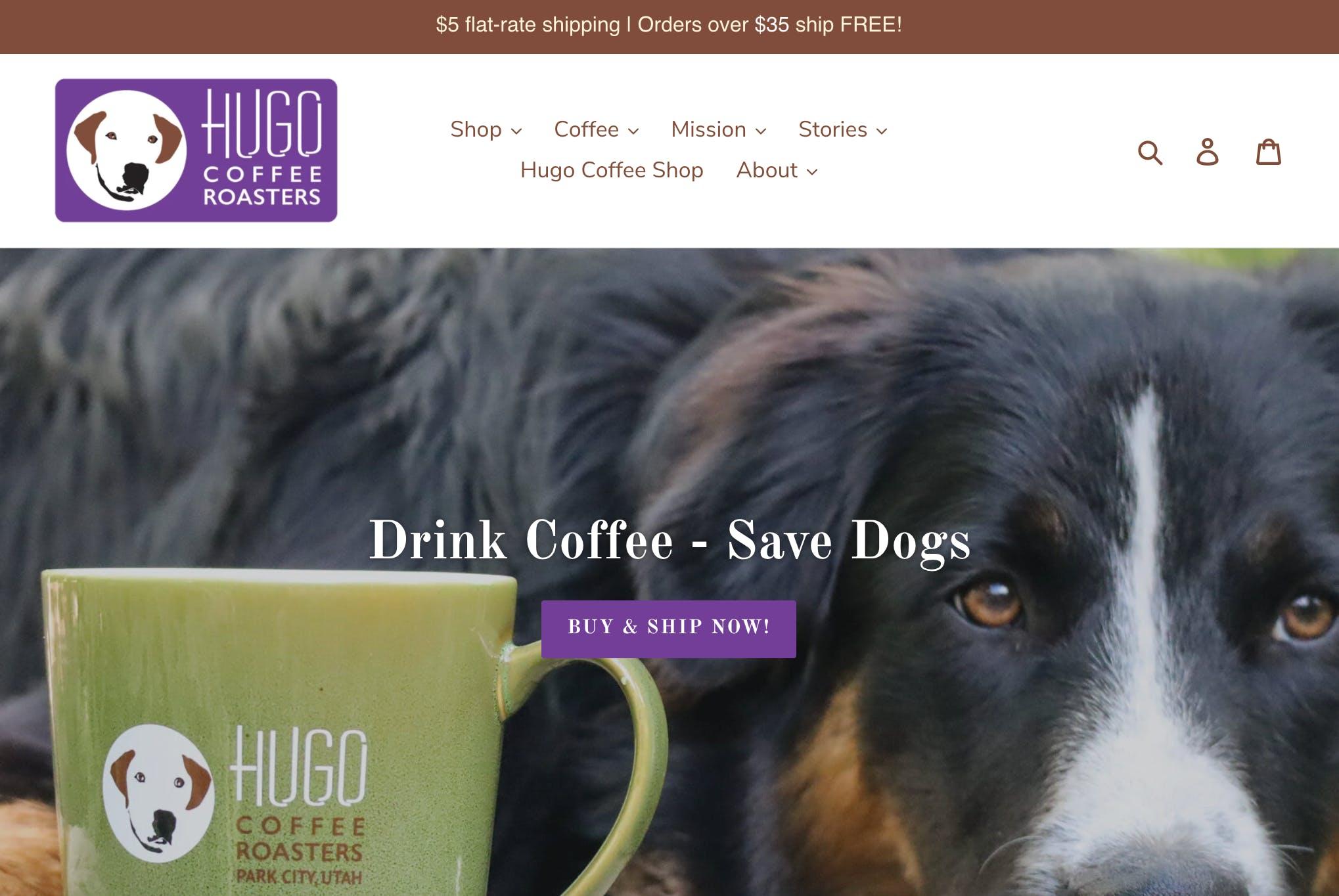 Hugo Coffee Roasters - Shop Screengrab