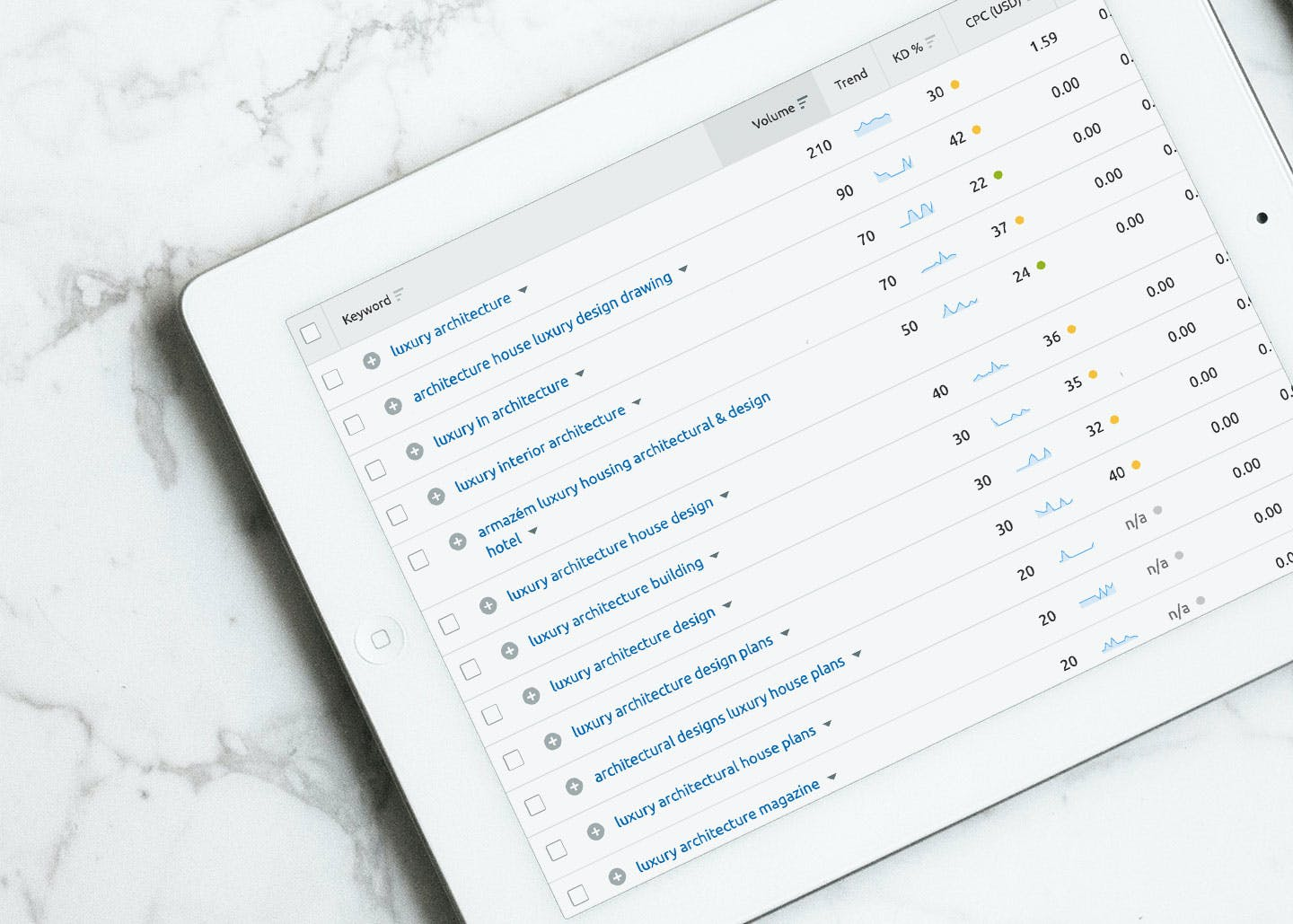 Architecture keyword research on a tablet