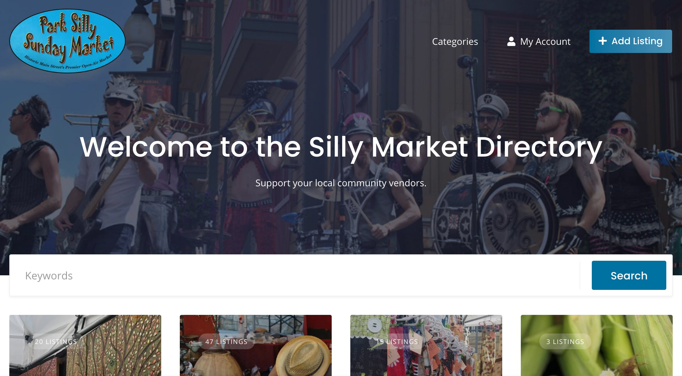 Park City Silly Market - Vendor Directory Screengrab