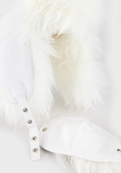 armani hat white with fur