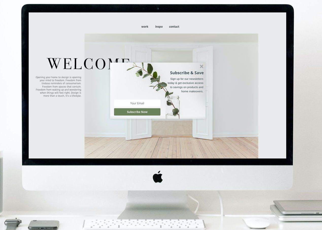 Lead capture popup on an interior designer's website