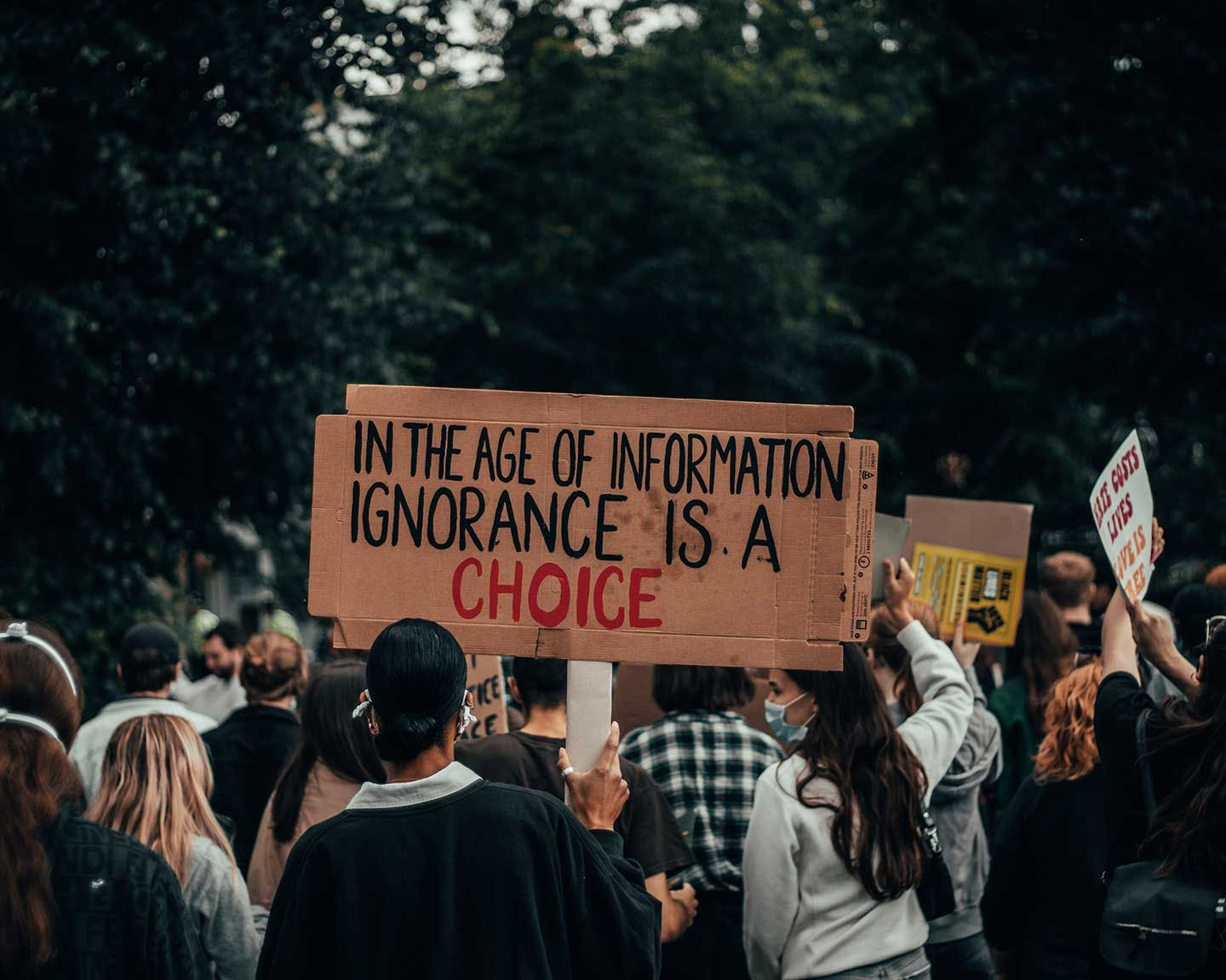 """Protester holding a sign that says """"In the Age of Information, Ignorance is a Choice"""""""