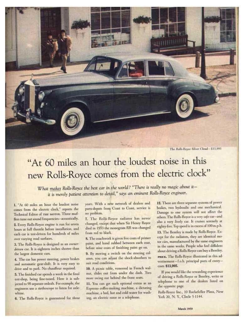 Rolls-Royce, 1959 newspaper advertisement