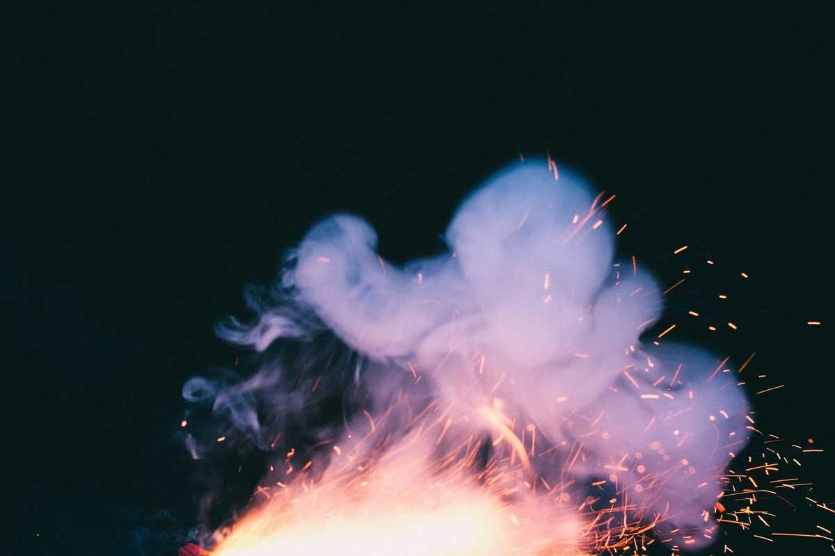 smoke rising from fire