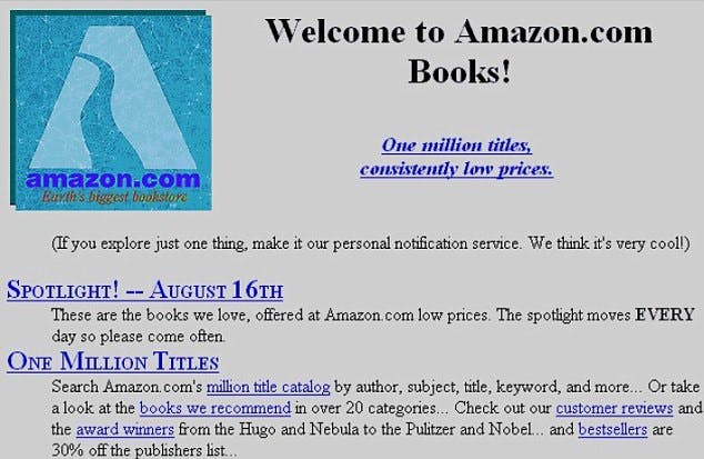 An image showing Amazon's humble beginings in 1998. A screenshot of the original Amazon homepage.
