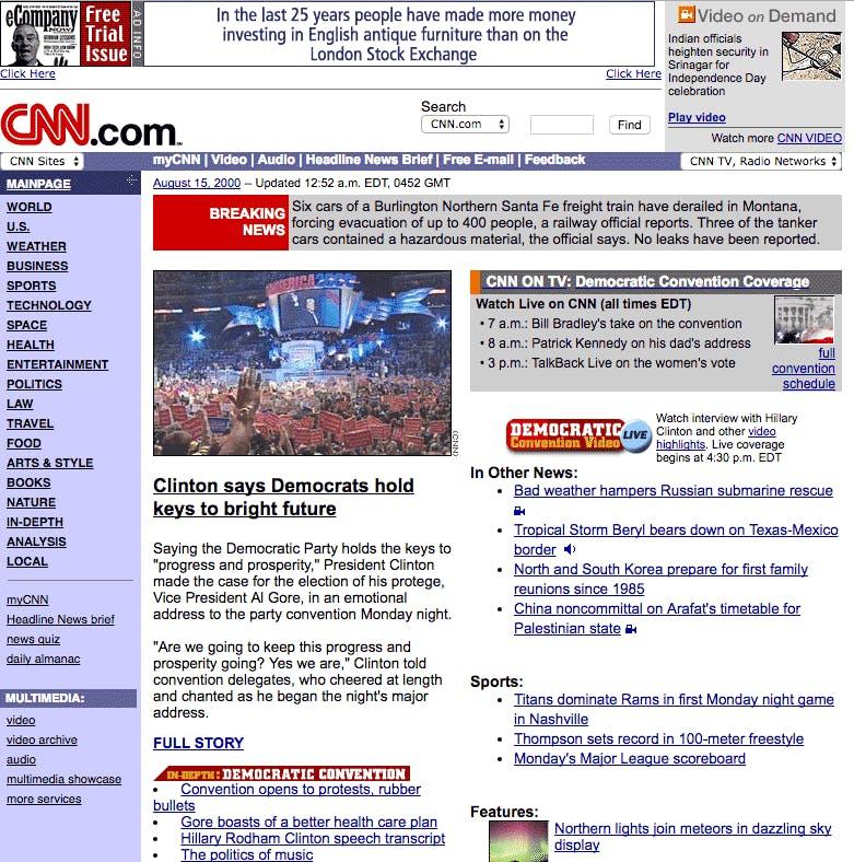 Vintage, old screenshot of CNN's homepage Aug 15, 2000