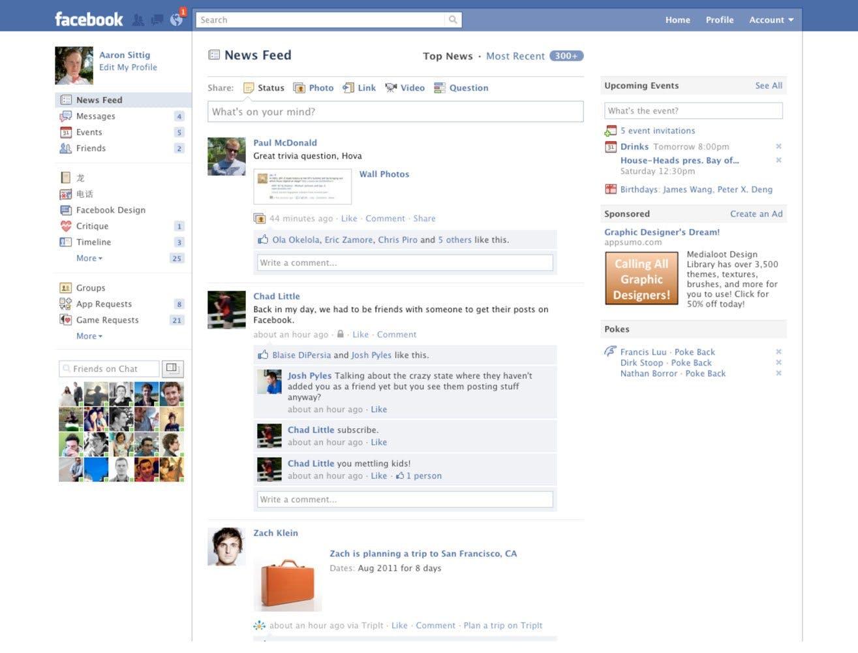 facebook newsfeed 2010