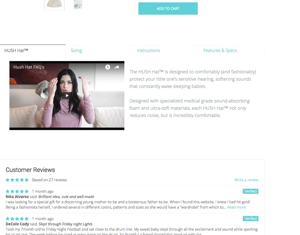 product detail page of Hush Baby showing detailed reviews