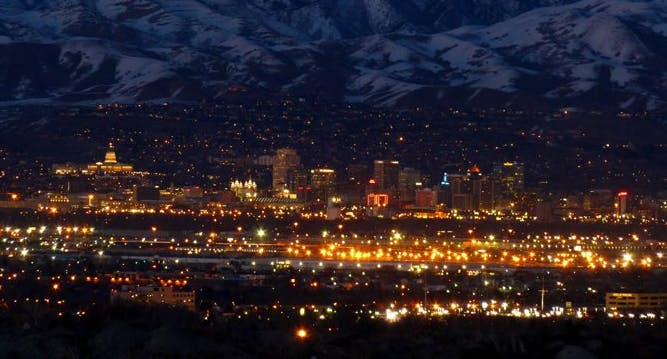 Downtown SLC at night