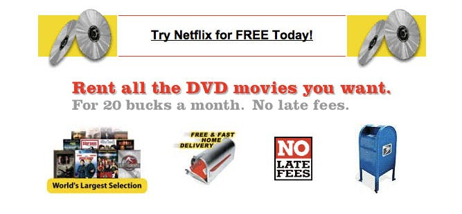 An image showing the original homepage for Netflix when it launched in 2002