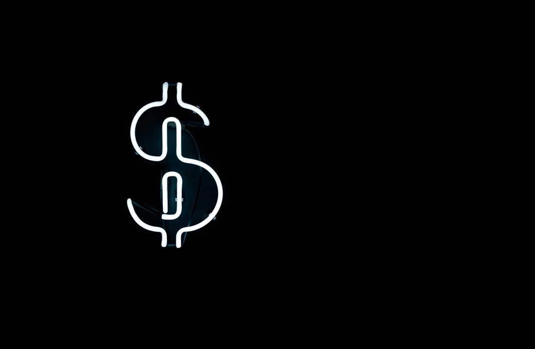 white dollar sign on black background
