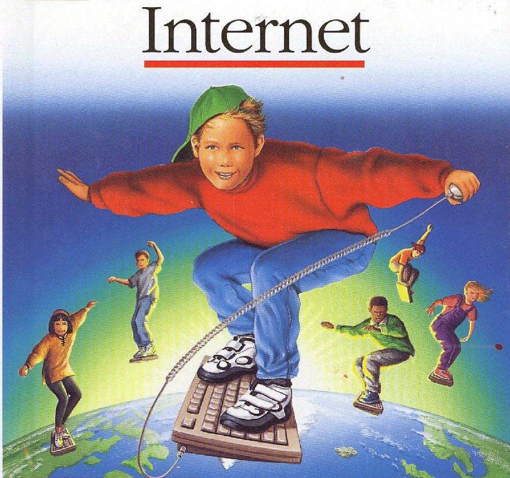 kid skateboarding on keyboard