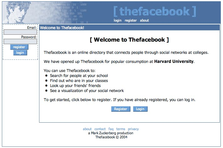 Original Facebook homepage from 2004