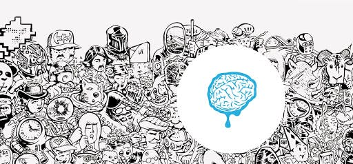 black and white cartoon graphics with blue brain as focal point
