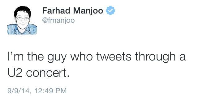 Farhad Manjoo tweeting about U2
