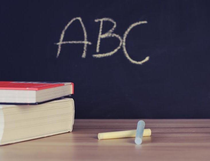 chalkboard with ABC written on it in yellow chalk