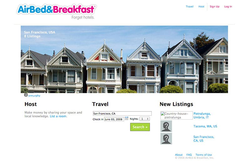 Screenshot of the first Airbnb homepage from 2008