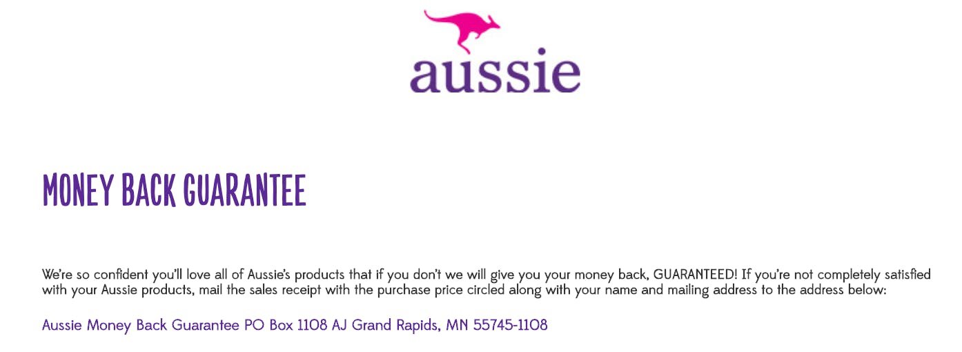 Aussie shampoo love it or guarentees money