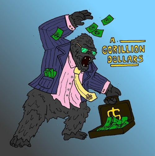 gorilla in suit throwing money out of suitcase