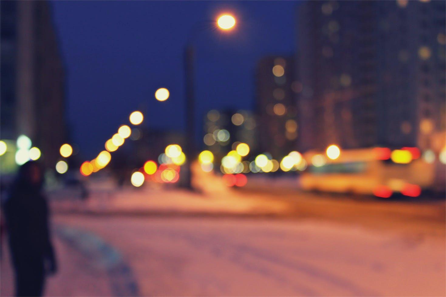 blurred city lights at night