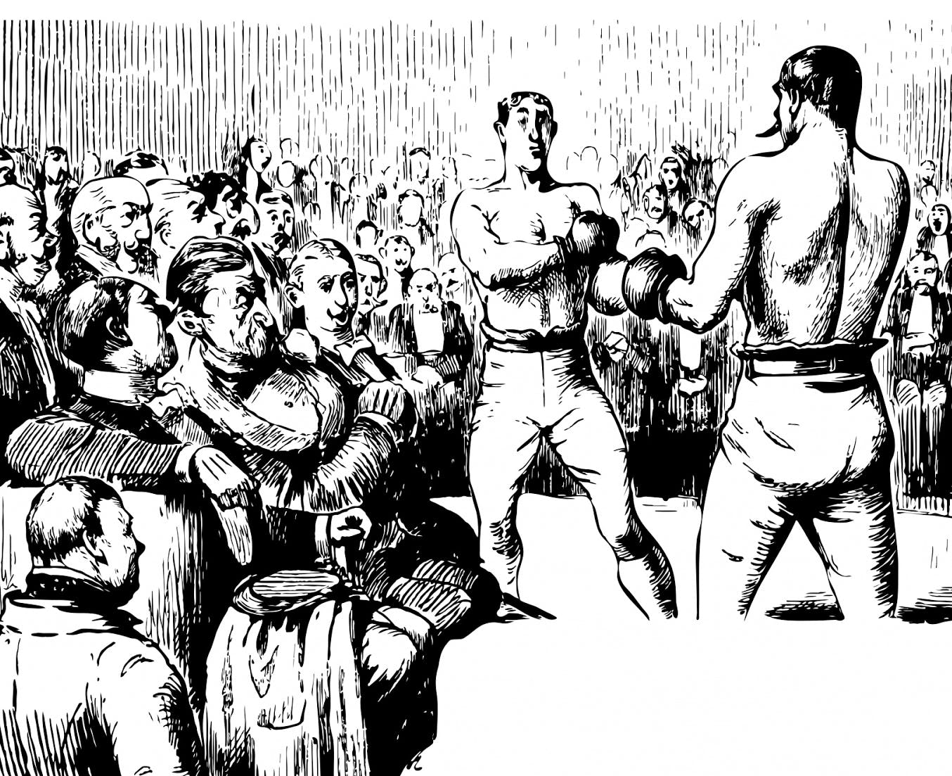 graphic of old time boxing match