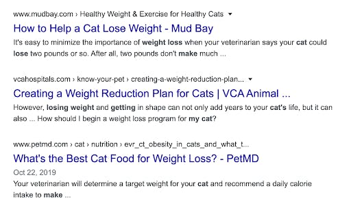 SERP for cat weight loss