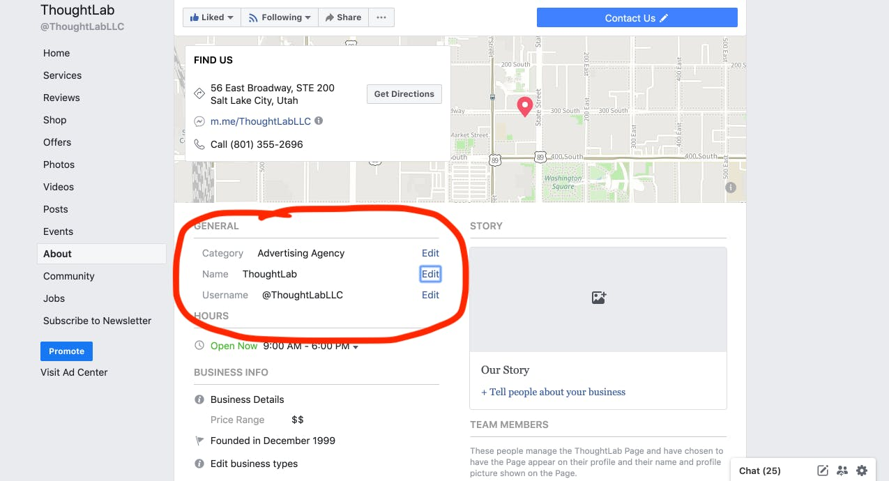 changing your facebook business page name