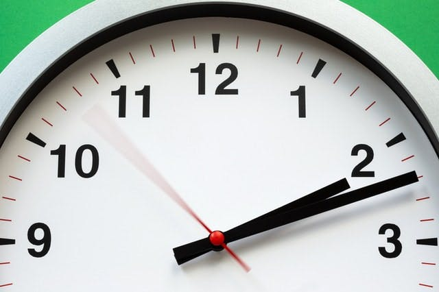 up close shot of clock with green backgroud