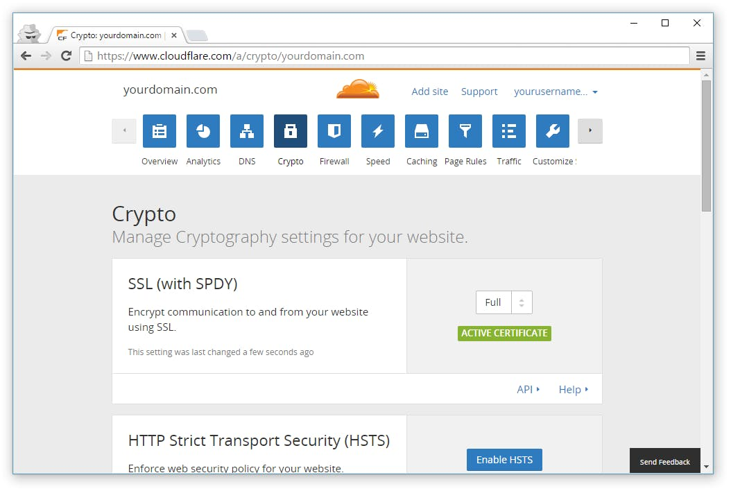 crypto menu option in cloudflare