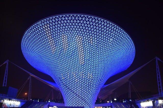 blue funnel made of lights