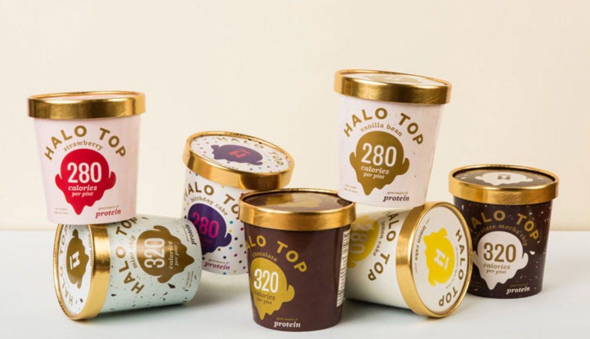 stack of halo top icecream