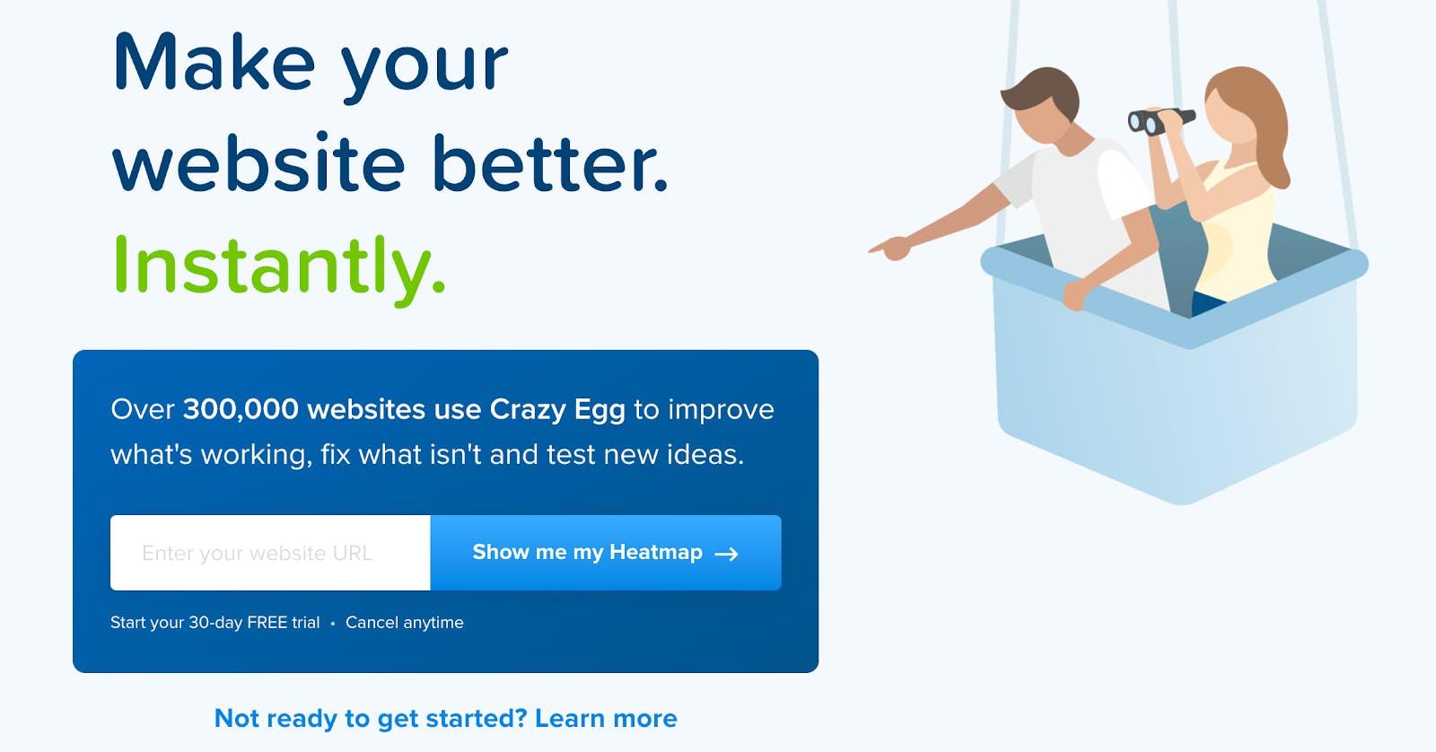 crazy egg landing page