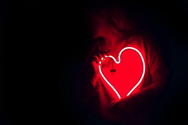 person holding red neon heart