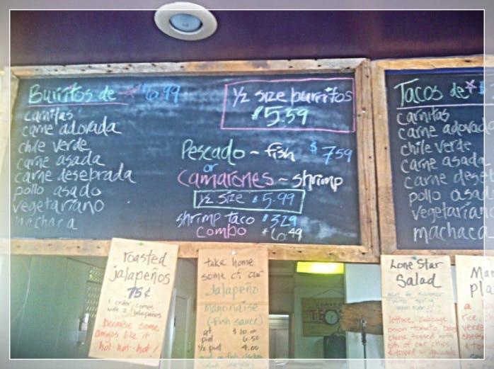 chalkboard menu at Dos Taquerias