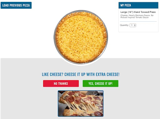 example of how Dominos uses visual cues in their forms