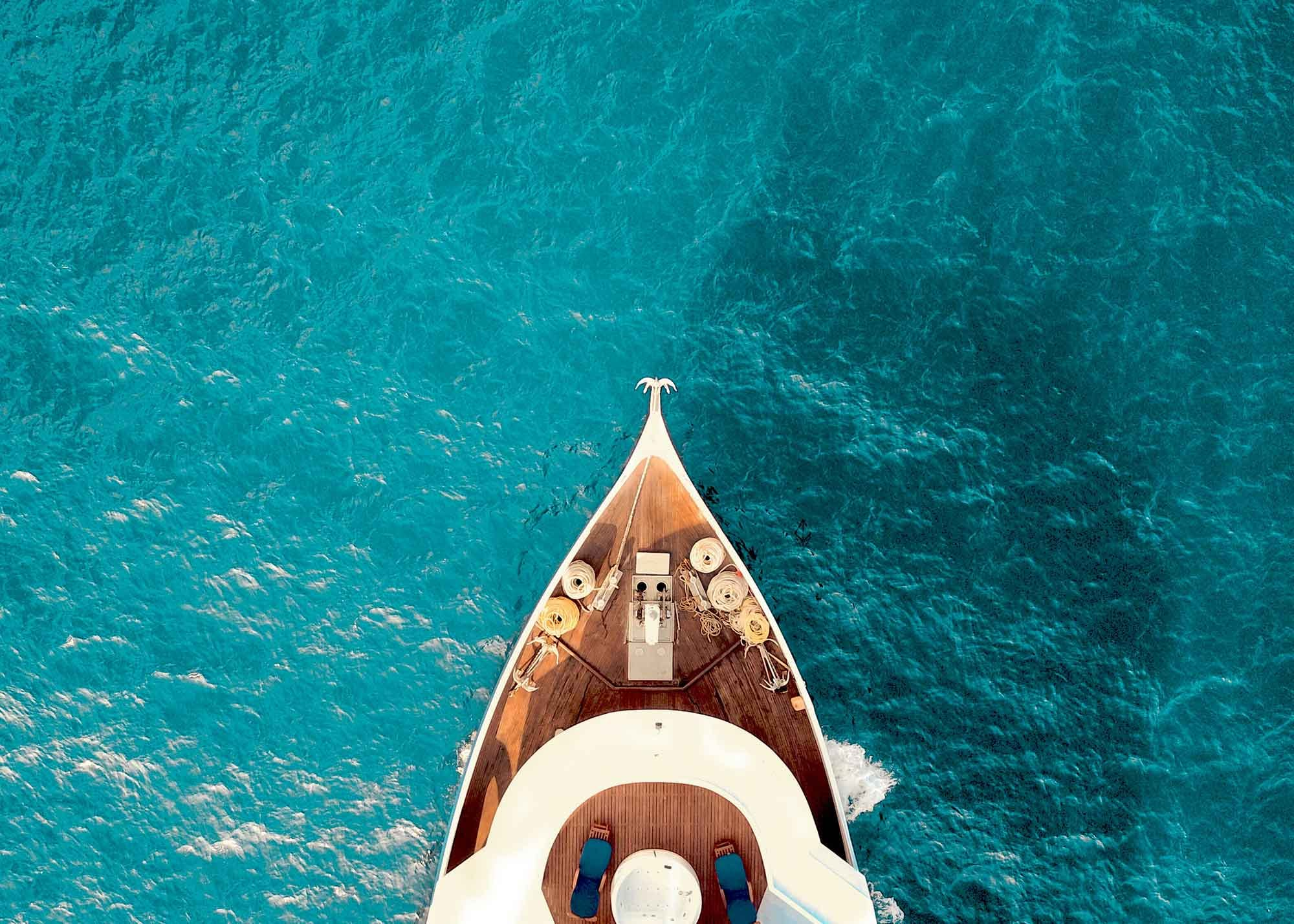 Yacht on blue water