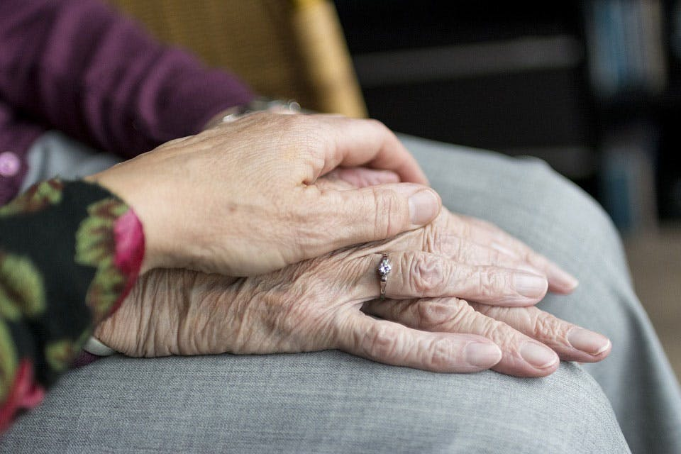 a close up of an elderly couple holding hands
