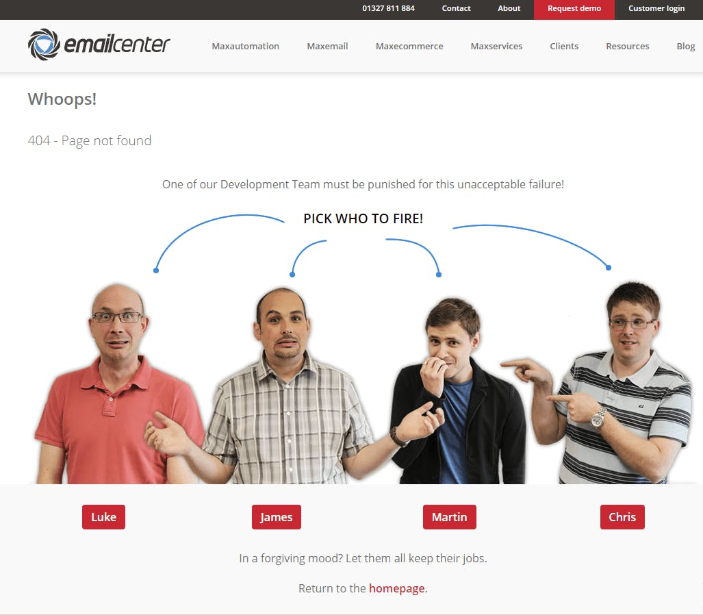email center 404 page