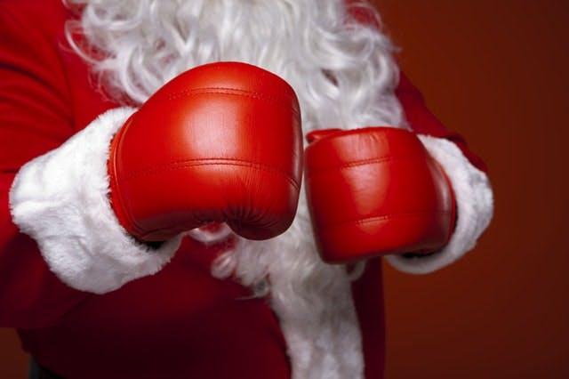 santa in boxing gloves