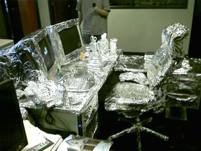 desk covered in foil