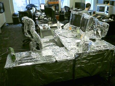 foil covered desk