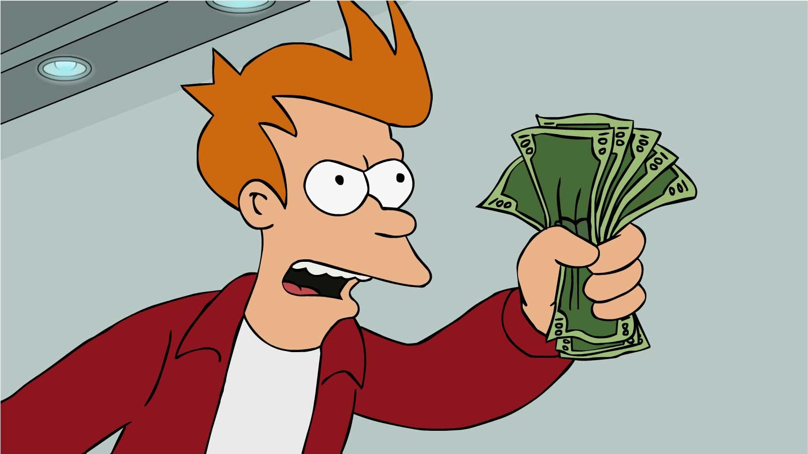 angry ginger man holding cash