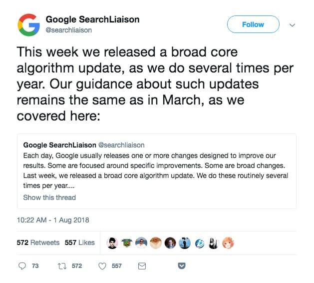 Google confirming the medic update via twitter