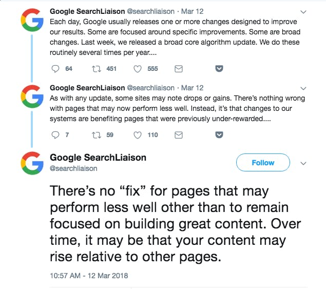 Google offering additional commentary on the medic update via Twitter