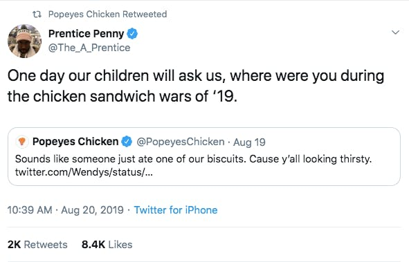 tweet reading where were you during the great chicken war of 2019