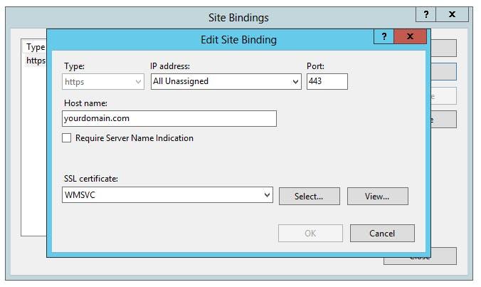 edit site binding