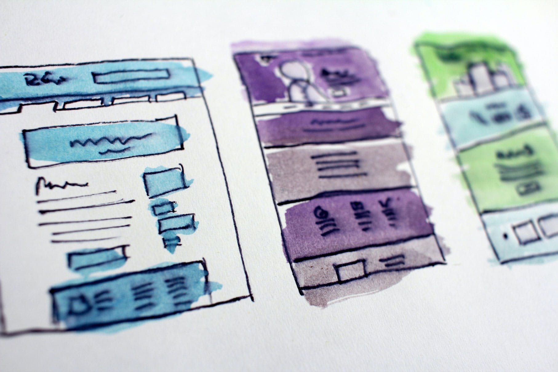 watercolor wireframes