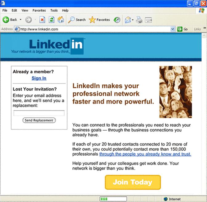 Original Linkedin Homepage