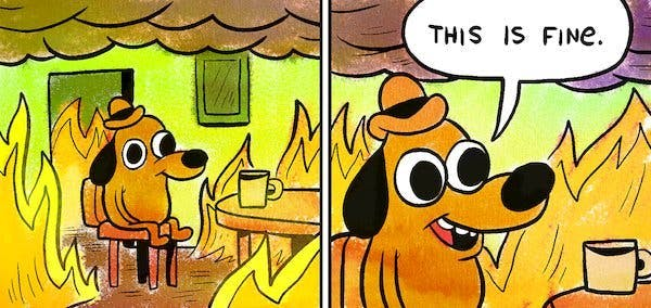 dog on fire this is fine meme